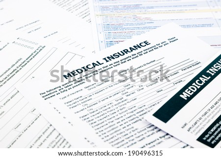 medical insurance form, paperwork and questionnaire for insurance concepts