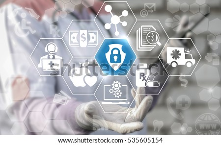Medical insurance security safety health care internet concept. Shield lock icon healthcare medicine treatment ambulance protection web assurance emergency strategy and technology
