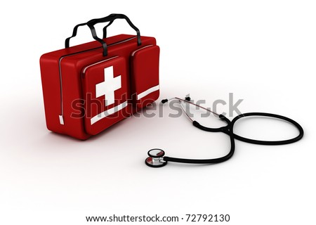medical kit, isolated on white background
