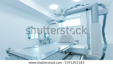 Medical laboratory room with new X-ray equipment for quick diagnostic, copy space, panorama Foto stock ©