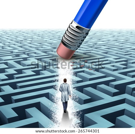 Medical leadership health care concept as a doctor or scientist walking through a maze erased by a pencil as a medicine metaphor for scientific discovery or breakthrough in health science technology.