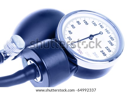 Medical manometer closeup with a bulb. Isolated on white background and toned blue.