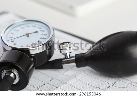 Medical manometer lying on cardiogram chart closeup. Medical help, prophylaxis, disease prevention or insurance concept. Cardiology care,health, protection and prevention. Healthy life concept