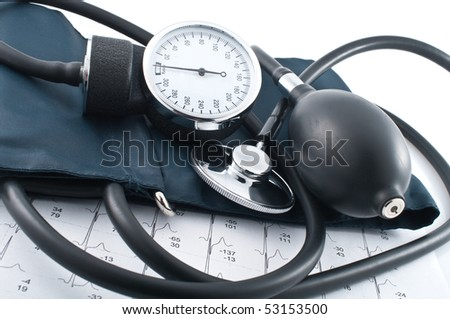Medical manometer, stethoscope and cardiogram