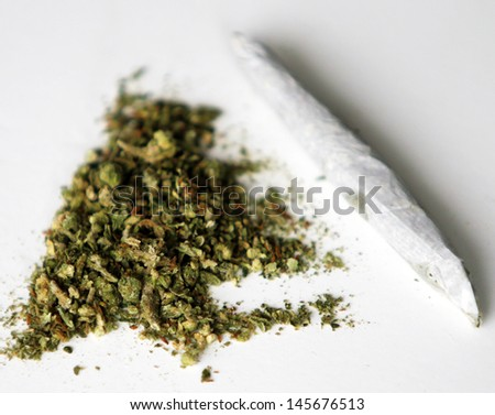 Medical Marijuana aka Pot, Dope, Mary Jane, Joint, Spliff, Ganja, Weed, 420, Herb, Medicine, Hash, Hemp and many other terms. Rolling Paper and processed pot ready to be rolled into a joint to smoke