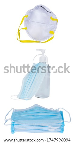 Medical mask ,Mask N-95 and hand sanitizer gel isolated on white background, Corona protection, virus, flu and Health care.  Stock foto ©