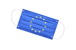 Medical mask with flag of european union isolated on white background. pandemic concept in Europe. attribute of coronavirus outbreaks in the European Union. Medicine in Europe.