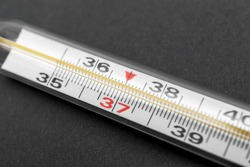 Medical mercury thermometer. Close up.