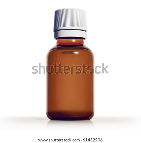 Medical 50ml bottle of brown glass with liquid, 3d