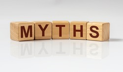 Medical myths concept. Inscription, word about fakes and misinformation about health.