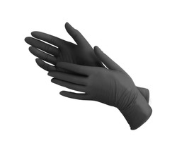 Medical nitrile gloves.Two black surgical gloves isolated on white background with hands. Rubber glove manufacturing, human hand is wearing a latex glove. Doctor or nurse putting on protective gloves