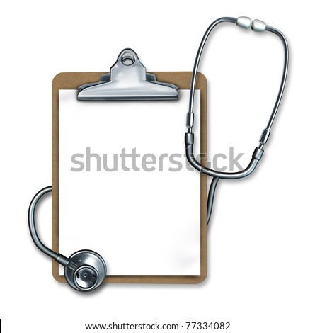 Represented by a stethoscope and a clipboard as medical equipment