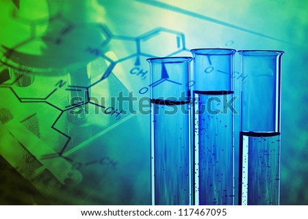 Medical or chemistry science background with microscope and test tubes