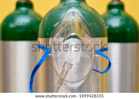 Medical Oxygen Mask on Medical Oxygen Cylinder Stock photo ©