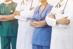 Medical people - doctors, nurse, physician and surgeon team in hospital. Healthcare service.