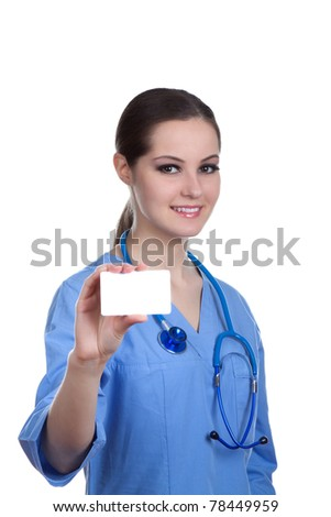 Medical person: Nurse / young doctor portrait. Confident medical professional isolated on white background. Young pretty Caucasian female model holds a blank card. Smiling nurse with stethoscope.