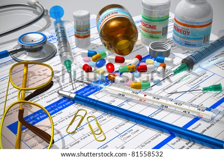 Medical/pharmacy concept: macro view of pills, stethoscope, syringes, thermometer and other medical supplies on prescription documents