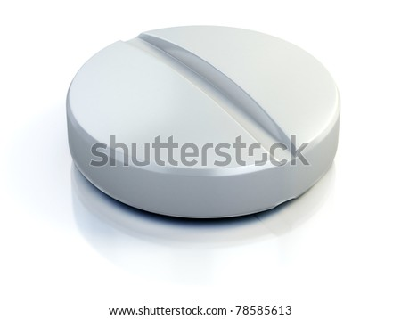 medical pill - tablet 3d illustration isolated on the white
