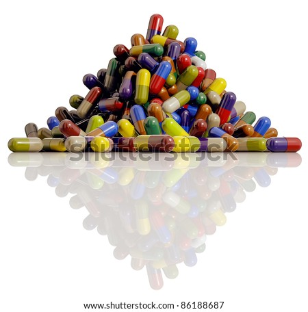 Medical pills, lots of medicine capsules of different colors on reflective surface isolated on white background, 3D.
