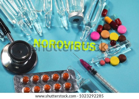 medical preparations, syringes and ampoules inscribed with norovirus #1023292285