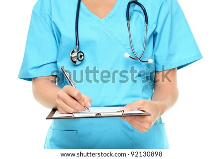Medical professional. Closeup of nurse or doctor writing on clipboard isolated on white background.
