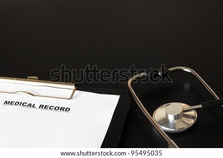 medical record clipboard and stethoscope showing health or medicine concept