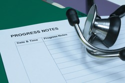 Medical Record Progress Notes with Stethoscope