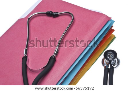 Medical Records Conceptual Image with Stethoscope and Paper Files Isolated on White with a Clipping Path.