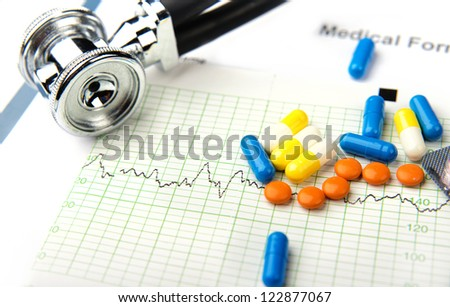 medical records, patient prescriptions,Doctor appoint prescription drugs to patients isolated on white, stethoscope and writing pen on the white table