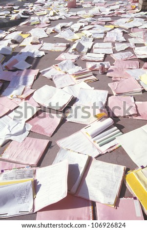 Medical records strewn over the floor in a medical building in Los Angeles after the January 17, 1994 earthquake