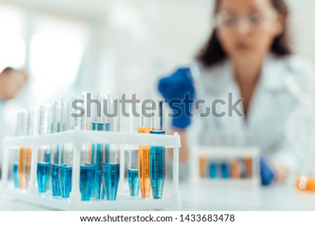 Medical research. Selective focus of new experimental vaccine being in the test tubes Foto stock ©