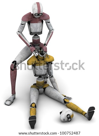 Medical Robot assisting downed robot - stock photo