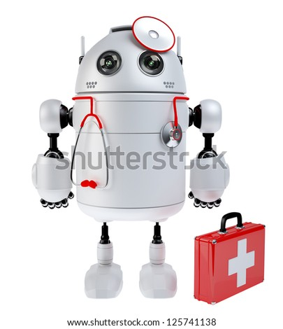 Medical robot robot with the first aid kit. Repair concept. Isolated