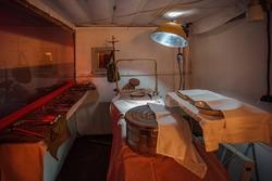 Medical room inside the bunker, surgical cabin.