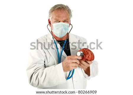 medical, science, brain surgeon, humor - A world famous Brain Surgeon examines another human brain for possible replacement while the top of his head has been removed. Isolated  with room for text