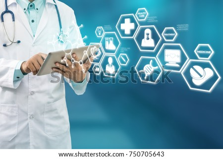 Medical Science Concept - Doctor in hospital lab with research icons in modern interface showing symbol of medicine innovation, treatment, discovery and healthcare analysis.
