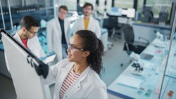 Medical Science Laboratory: Beautiful Black Female Scientist Writes Detailed Project Data Analysis on the Board, Her Diverse Team of Colleague Listens. Young Scientists Solving Problems.