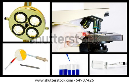 Medical scientific research collage concept over white background