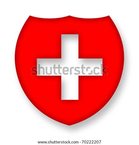 Medical shield with cross over white background