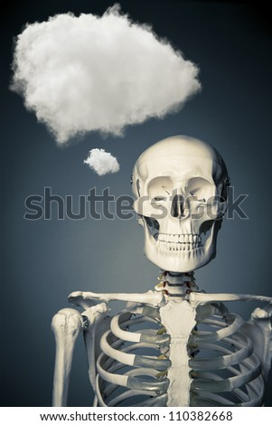 medical skeleton with a thinking cloud