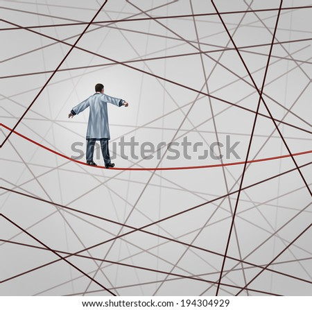 Medical solution health care concept as a doctor walking on a red tightrope around a group of tangled wires as a symbol of challenges in insurance and the risk in illness treatment for patients.