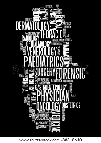 medical specialist professionals info-text graphics and arrangement concept on black background (word clouds)