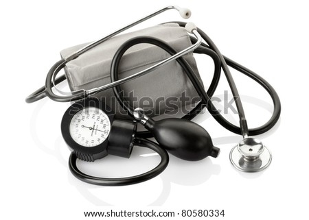 Medical sphygmomanometer and stethoscope, blood pressure control equipment isolated on white clipping path included