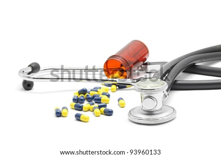 Medical Stethoscope and Capsule on white background for Healthy Concept