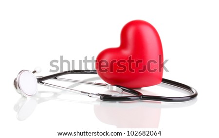 Medical stethoscope and heart isolated on white - stock photo