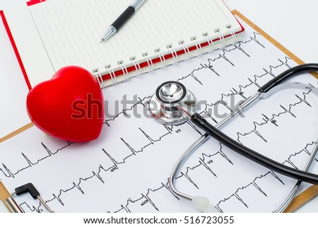 Medical stethoscope head and red toy heart lying on cardiogram chart closeup. Cardio therapeutist, pulse graph, cardiac physical, heart rate measure, arrhythmia, 911, er and resuscitation concept
