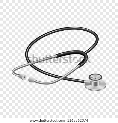 Medical stethoscope mockup. Realistic illustration of medical stethoscope mockup for on transparent background