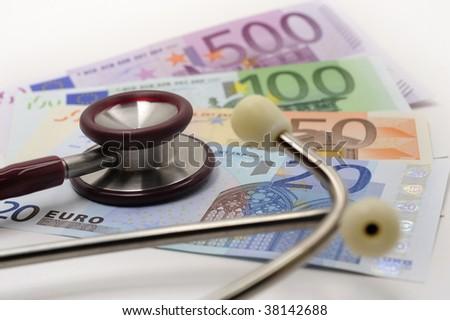 medical stethoscope on euros