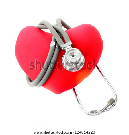 Medical stethoscope with red heart isolated on white - stock photo