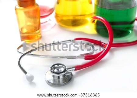 Medical still photo with stethoscope over white background